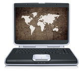Modello retrò della mappa geografica mondiale sullo schermo del computer portatile — Foto Stock