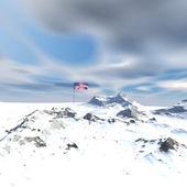Nás vlajky na měsíci s snow krajina — Stock fotografie