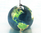 Earth with radio set — Stock Photo