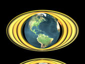 Earth model with golden rings — Foto de Stock