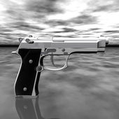 Closeup of pistol isolated on a gray — Stock Photo