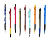 9 colorful pen isolated on white background — Stockfoto