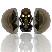 Cyborg head, robot — Stock Photo