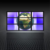 Video wall with earth on the screens — Stock Photo