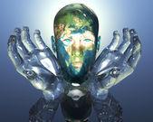 3D earth textured men head — Stock Photo