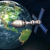 Satellite spoutnik en orbite autour de la terre dans l'espace — Photo
