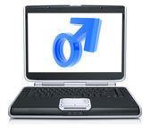 Mars symbol on laptop screen — Stock Photo