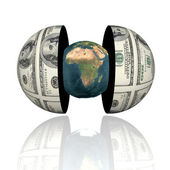 3d earth in hemispheres with us dollar texture — Stock Photo