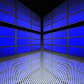 Video zeď s modrou obrazovkou — Stock fotografie