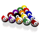Fifteen pool billiard balls — Stok fotoğraf