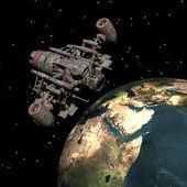 Satellit sputnik kretsar runt jorden — Stockfoto