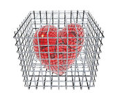 3d hearts in birdcage isolated on white — Stock Photo