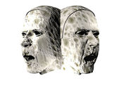 3D stone heads — Stock Photo
