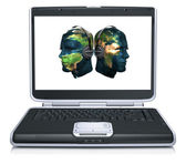 3d model of the man head world map textured on laptop screen — Stock Photo