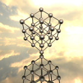 Model of molecular lattice with reflection — Stock Photo