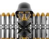 3d soldiers in a gas mask with bullets — Foto de Stock