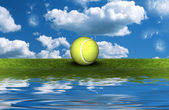 Tennis ball on the green grass with sky backgrou — Stock Photo