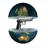Two earth hemisphere with gun isolated on white — Stock Photo