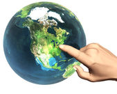 3d hand pekar på jorden — Stockfoto