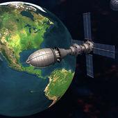 Satelliet spoetnik in een baan om de aarde in de ruimte — Stockfoto