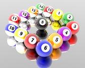 Femton pool biljardbollar — Stockfoto