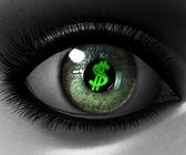 Beautiful girl eye in 3D with us dollar — Stock Photo