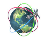 Satelite sputnik orbiting earth — Stock Photo