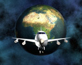 Airliner with a globe in the background — Stock Photo