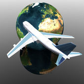 Airliner with earth in the background — Stock Photo