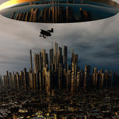 3d alien UFO space ship above night city — Stock Photo