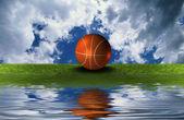 Palla da basket sul prato verde con cielo s — Foto Stock