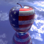 Apple with us flag texture — Stock Photo
