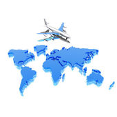 Colorful geographical world map with airplane — Stock Photo