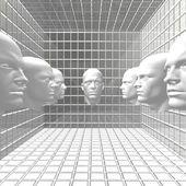 Cyber мужчин роботы голову в номере — Стоковое фото