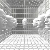Cyber mannen robots hoofd op kamer — Stockfoto