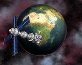 Uydu sputnik'i yörüngedeki earth — Stok fotoğraf