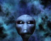 Alien portrait with stars — Stock Photo