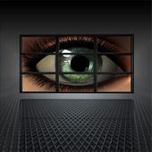 Video wall with girl eye — Stock Photo