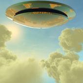 Alien UFO ship in futuristic landscape — Stock Photo