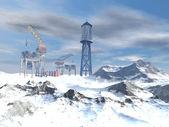 Drilling Platform in winter landscape — Stock Photo