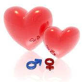 Glass love hearts — Foto Stock