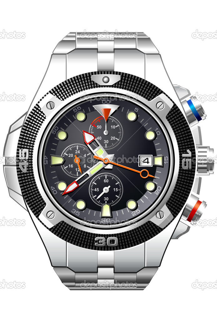 Detailed analog watch with black face  — Stock Vector #1111806
