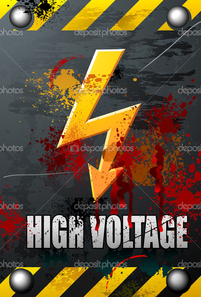 Grungy bloody High Voltage Sign — Stock Vector #1161094