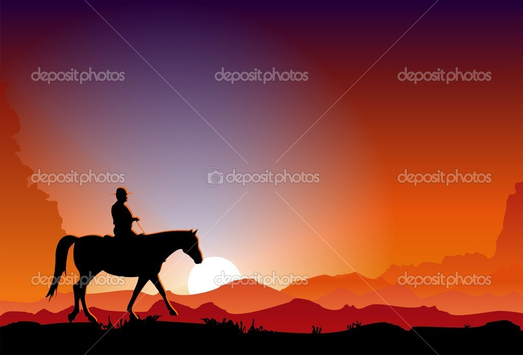 Vector illustration of the cowboy riding a horse in the dusk. — Stock Vector #1161810