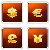 Golden Currency Icons — Vettoriale Stock