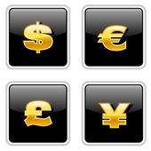 Golden Currency Icons — Stockvector