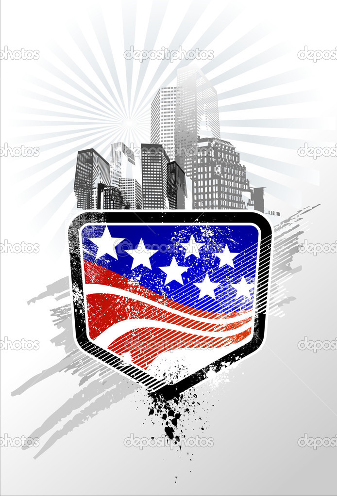 American Emblem with sky skyscrapers — Stock Vector #1189764