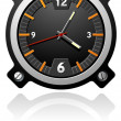 Stock Vector: Watch with black dial
