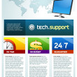Tech support brochure cover - Stock Vector