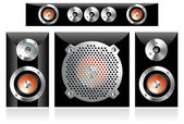 Set of different loudspeakers including subwoofer — Stock Vector